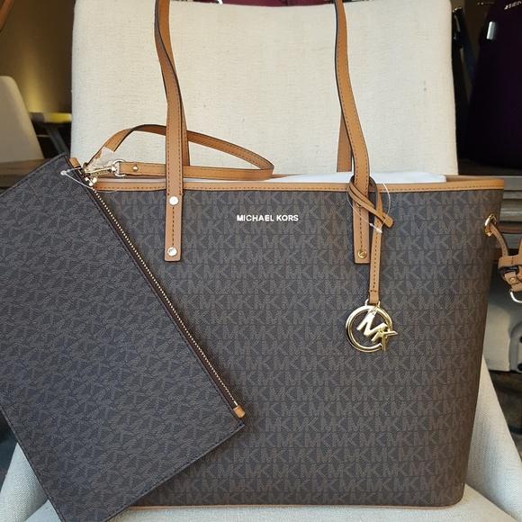NWT Michael Kors drawstring tote bag shopper brown Boutique